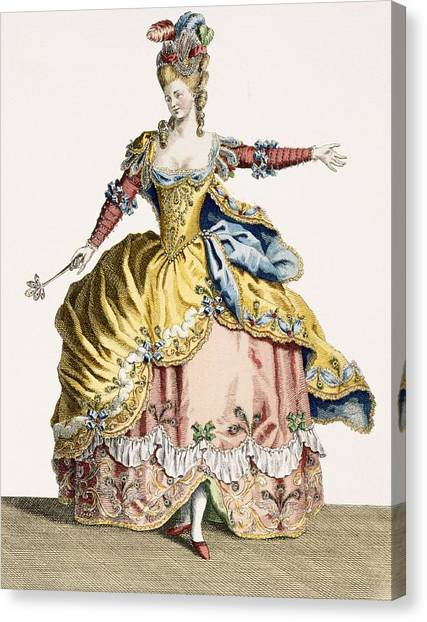 Fashion Plate Canvas Print - Costume For The Queen Of The Sylphs by Jean Baptiste Martin