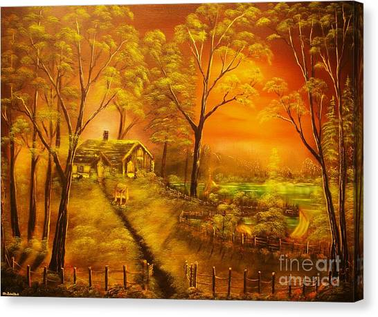 Cottage By The Lake-original Sold- Buy Giclee Print Nr 32 Of Limited Edition Of 40 Prints  Canvas Print