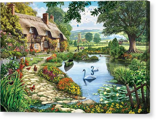 Cottage By The Lake Canvas Print