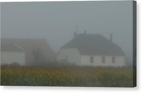 Cottage In Mist Canvas Print