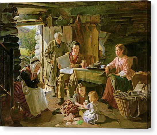 Crib Canvas Print - Cottage Interior, 1868 Oil On Canvas by William Henry Midwood