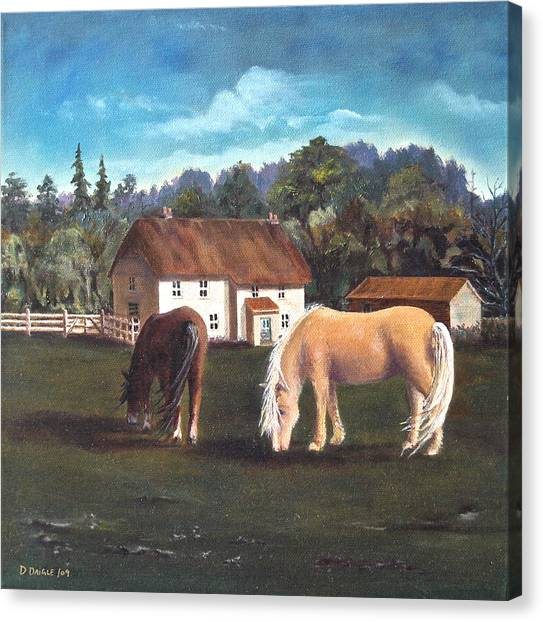 Cottage With Shetland Ponies Canvas Print by Diane Daigle