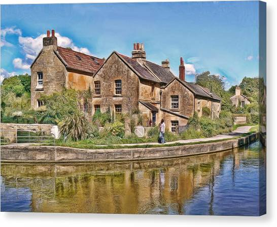 Cottages At Avoncliff Canvas Print