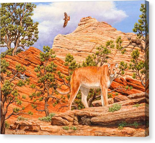Rattlesnakes Canvas Print - Cougar - Don't Move by Crista Forest