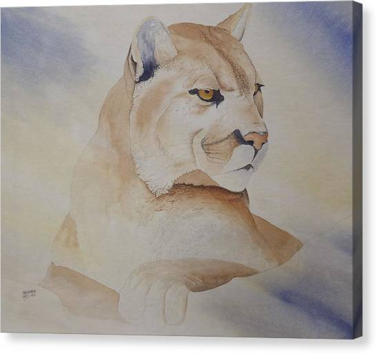 Cougar On Watch Canvas Print