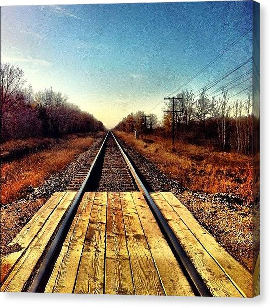 Manitoba Canvas Print - Could Go On Forever. #railroad #driving by Kelsey Parisien