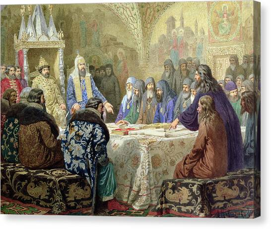 Orthodox Canvas Print - Council In 1634 The Beginning Of Church Dissidence In Russia, 1880 Wc On Paper by Aleksei Danilovich Kivshenko