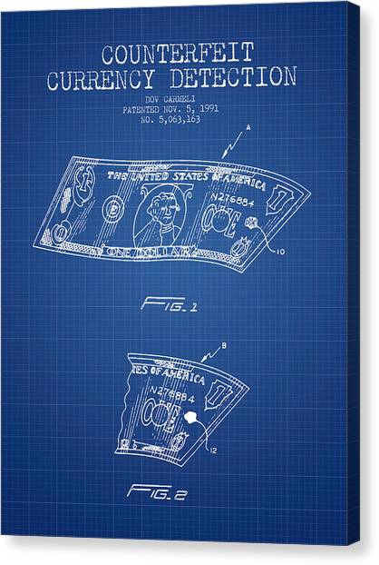 Currency Canvas Print - Counterfeit Currency Detection Patent From 1991 - Blueprint by Aged Pixel