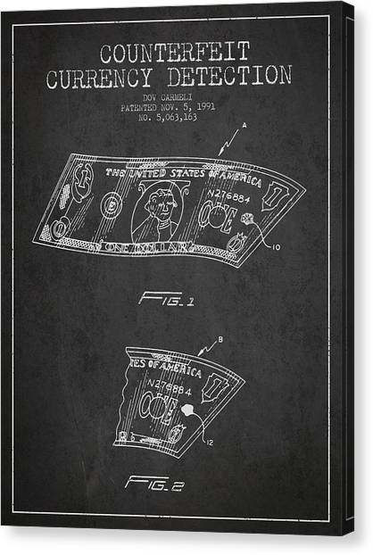 Currency Canvas Print - Counterfeit Currency Detection Patent From 1991 - Charcoal by Aged Pixel