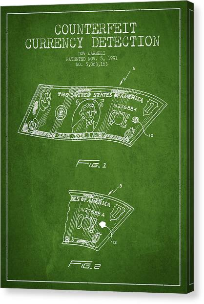 Currency Canvas Print - Counterfeit Currency Detection Patent From 1991 - Green by Aged Pixel