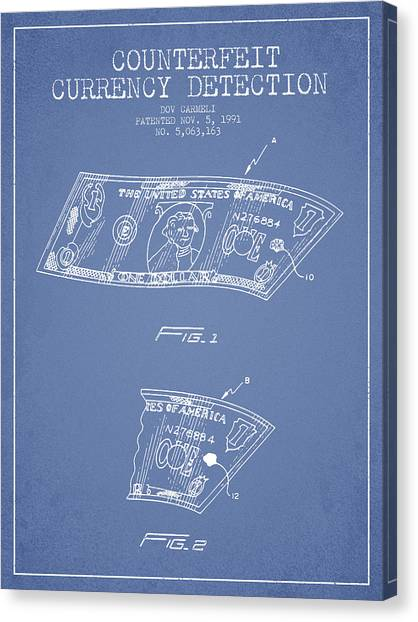 Currency Canvas Print - Counterfeit Currency Detection Patent From 1991 - Light Blue by Aged Pixel