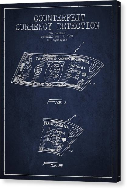 Currency Canvas Print - Counterfeit Currency Detection Patent From 1991 - Navy Blue by Aged Pixel