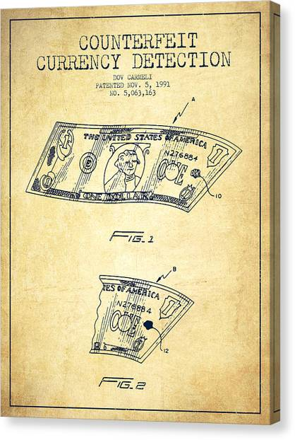 Currency Canvas Print - Counterfeit Currency Detection Patent From 1991 - Vintage by Aged Pixel