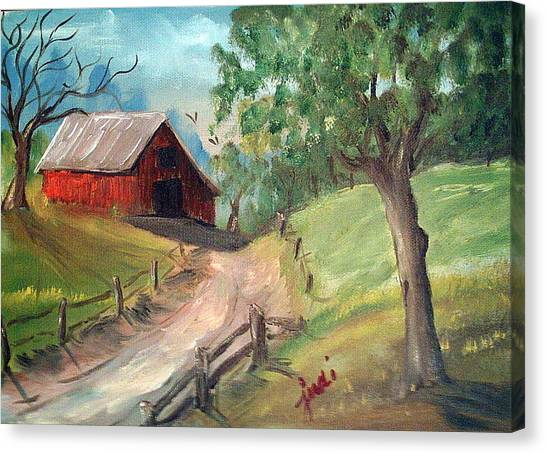 Country Barn Canvas Print by Judi Pence