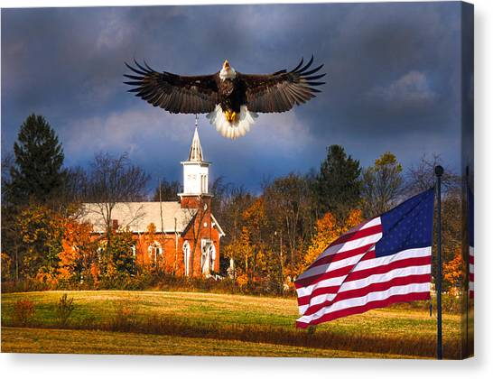 country Eagle Church Flag Patriotic Canvas Print