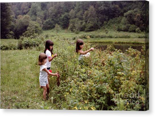 Country Girls Picking Wild Berries Canvas Print