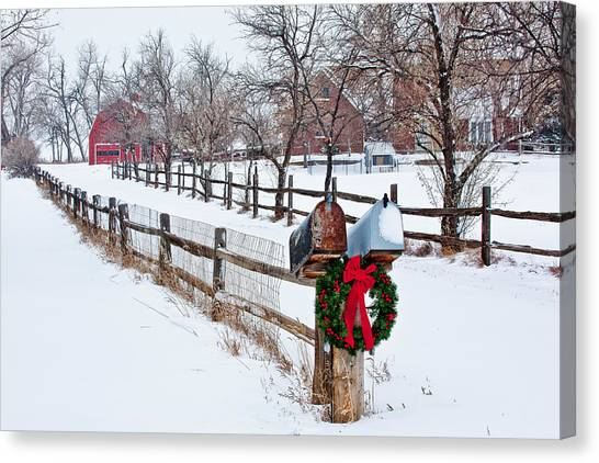 Wreath Canvas Print - Country Holiday Cheer by Teri Virbickis
