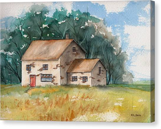 Country Home With The Red Door Canvas Print