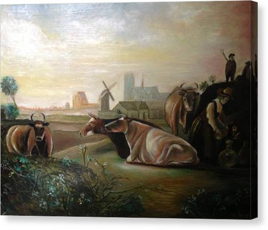 Country Landscapes With Cows Canvas Print