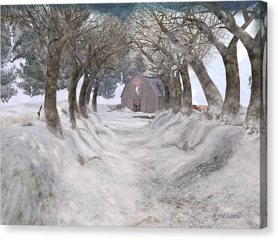 Country Lane In Winter Canvas Print