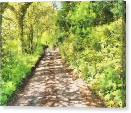 Canopy Canvas Print - Country Lane Watercolour by Roy Pedersen