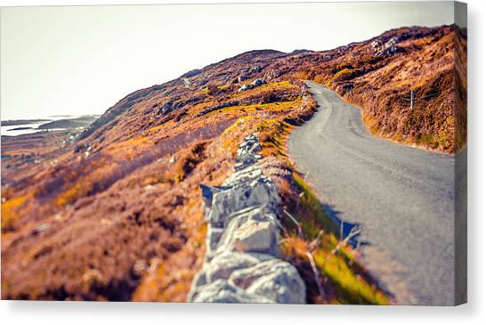 Country Road In Autumn Canvas Print by Moreiso