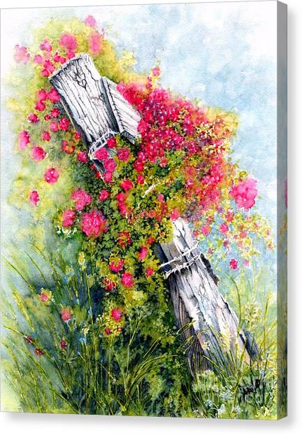 Charming Cottage Canvas Print - Country Rose by Janine Riley