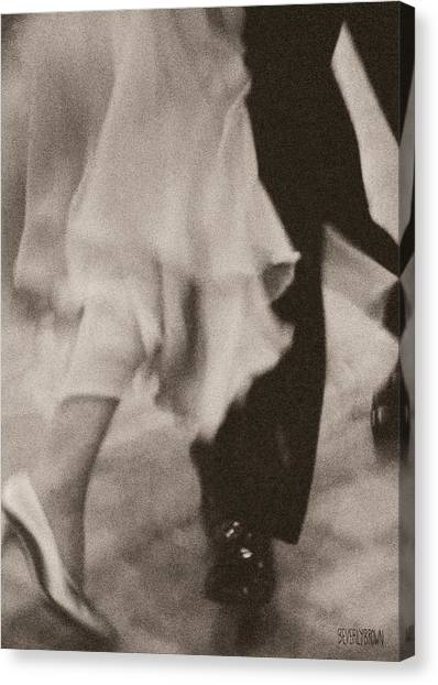 Sepia Canvas Print - Couple Ballroom Dancing Legs by Beverly Brown Prints