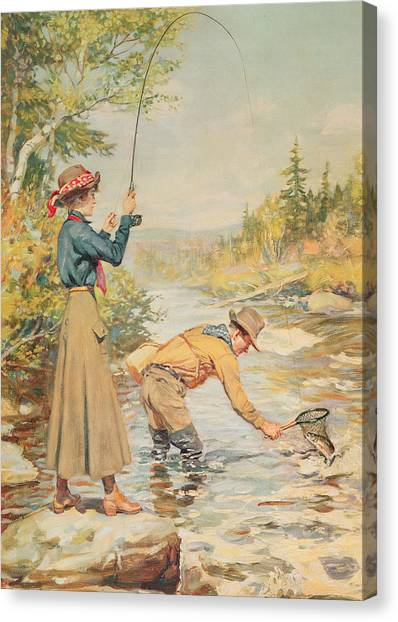 Angler Art Canvas Print - Couple Fishing On A River by Anonymous