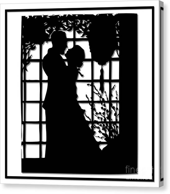 Canvas Print featuring the digital art Couple In Love Silhouette by Rose Santuci-Sofranko