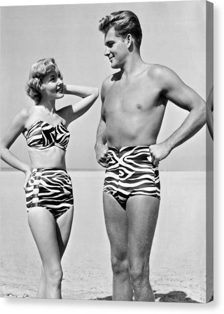 Boy And Girl Canvas Print - Couple In Matching Attire by Underwood Archives