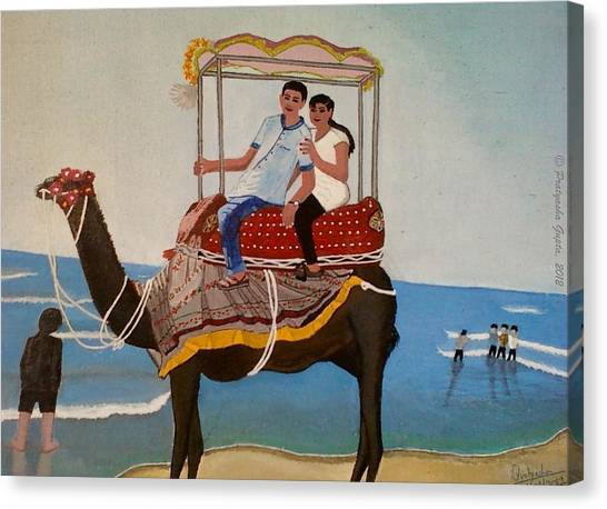 Couple On Camel Canvas Print