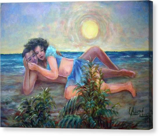 Couple On The Beach Canvas Print