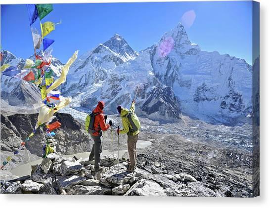 Backpacks Canvas Print - Couple Trek In The Khumbu Region by HagePhoto