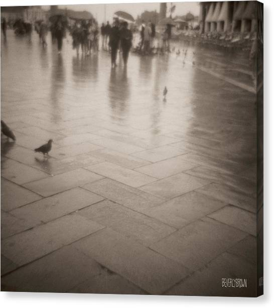 Sepia Canvas Print - Couple Walking In The Rain San Marco by Beverly Brown Prints