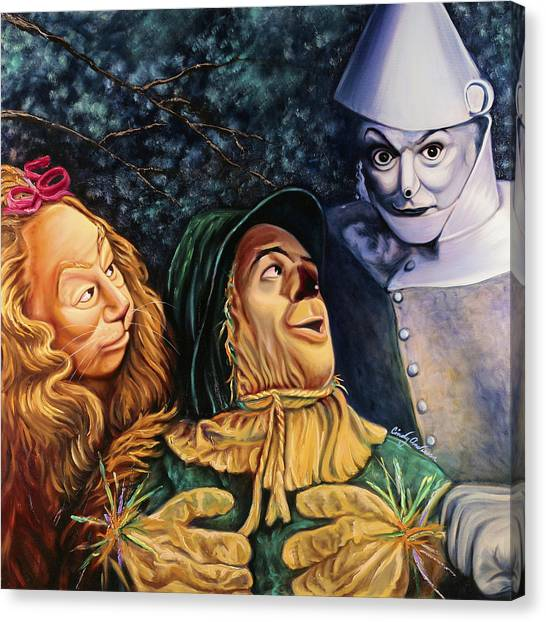 Scarecrows Canvas Print - Courage Heart And Brains by Cindy Anderson