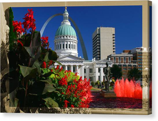 Courthouse Arch Skyline Fountain Canvas Print