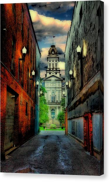 Street Lamp Canvas Print - Courthouse by Tom Mc Nemar