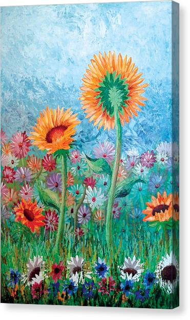 Courting Sunflowers Canvas Print