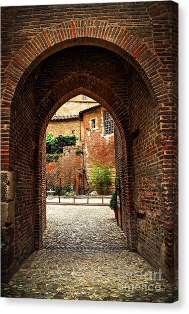 Fortification Canvas Print - Courtyard Of Cathedral Of Ste-cecile In Albi France by Elena Elisseeva