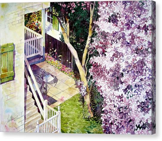 Blooming Tree Canvas Print - Courtyard With Cherry Blossoms by Mick Williams