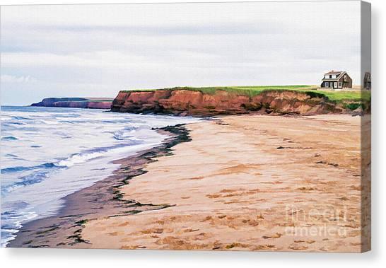Beach Cabin Canvas Print - Cousins Shore Prince Edward Island by Edward Fielding