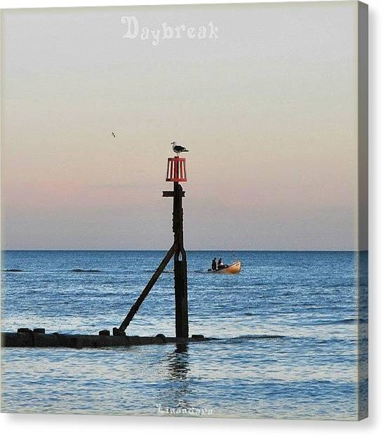 Fishing Boats Canvas Print - #coverartfake #latergram #sea #seagulls by Alexandra Cook