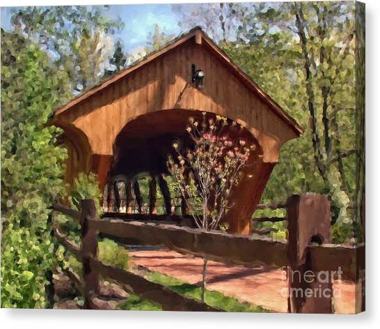 Covered Bridge At Olmsted Falls-spring Canvas Print