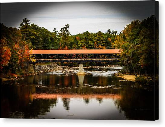 Covered Bridge Conway New Hampshire Canvas Print by Michael Donovan