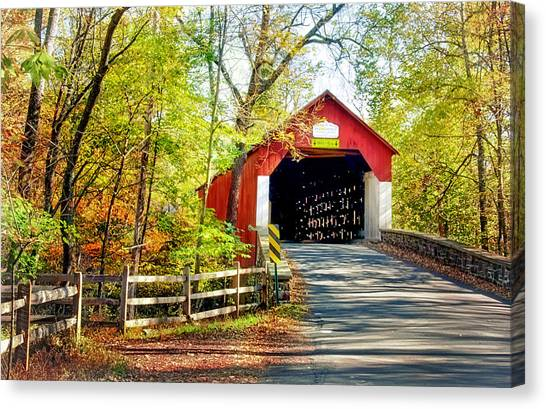 Covered Bridge In Bucks County Canvas Print