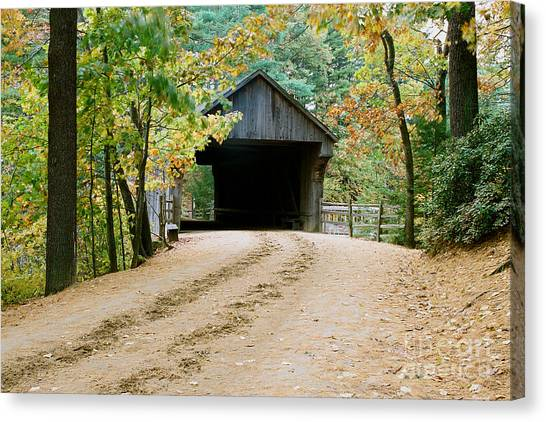 Covered Bridge In October Canvas Print