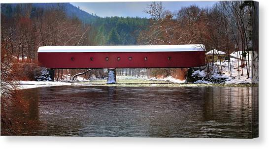 Covered Bridge Of West Cornwall-winter Panorama Canvas Print