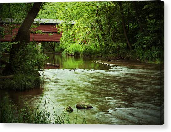 Covered Bridge Over French Creek Canvas Print