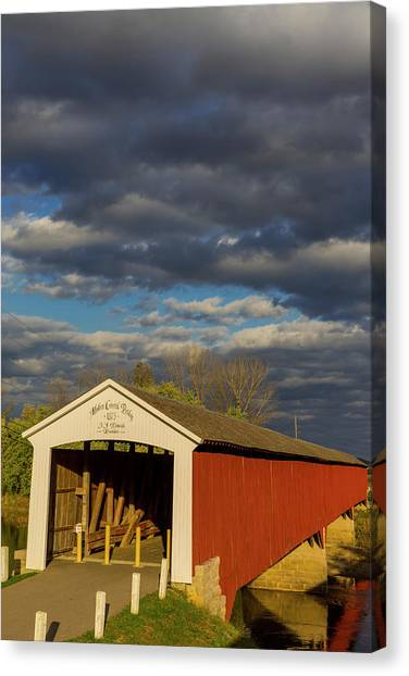 Indiana Autumn Canvas Print - Covered Bridge Over The East Fork by Chuck Haney